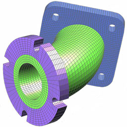 finite element mesh of pipe elbow
